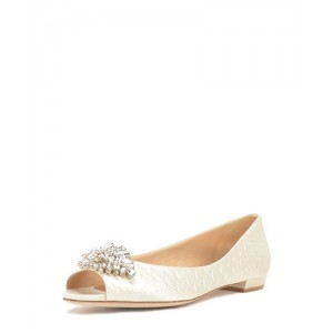 Beige Flat Wedding Shoes Rhinestone Clip Peep Toe Bridal Flats