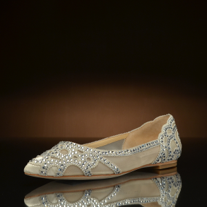 Champagne Flat Wedding Shoes Pointy Toe Rhinestone Hotfix Bridal Shoes