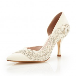 Women's White Stiletto Heel Dorsay Pumps Pointed Toe Wedding Shoes