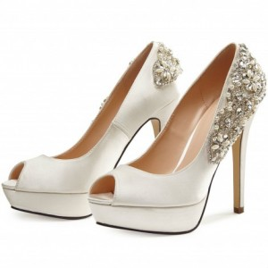 Ivory Satin Bridal Heels Rhinestone Peep Toe Stilettos Platform Pumps for Wedding