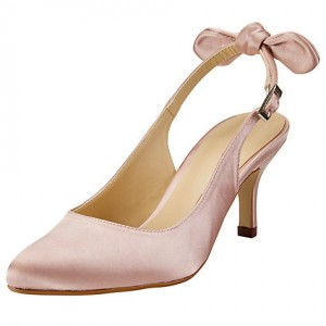 Light Pink Satin Slingback Pumps Wedding Shoes