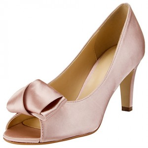 Women's Pink Bow Satin Peep Toe Wedding Shoes