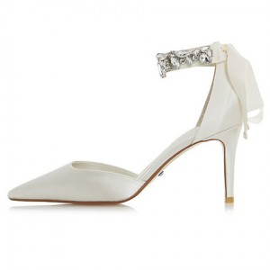 Women's White Rhinestone Ankle Strap Stiletto Heel Pumps Bridal Heels