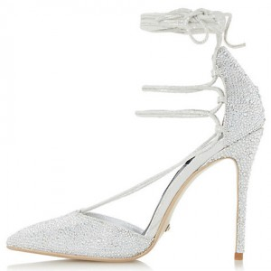 Women's Silver Low-cut Uppers Glitter Strappy Stiletto Heel Wedding Shoes