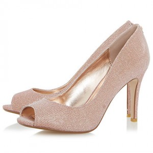Women's Pink Low-cut Uppers Pencil Heel Wedding Shoes