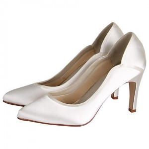 Women's White Low-cut Uppers Satin Pumps Bridal shoes