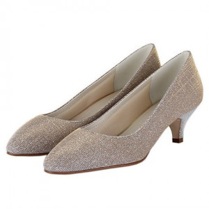 Women's Champagne Low-cut Uppers Kitten Heel Wedding Shoes