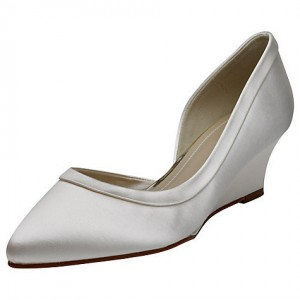 Women's Silver Satin Dorsay Pumps Wedge Heel Bridal Shoes