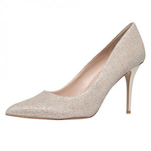 Women's Champagne Low-cut Uppers Stiletto Heel Pumps Bridal Heels
