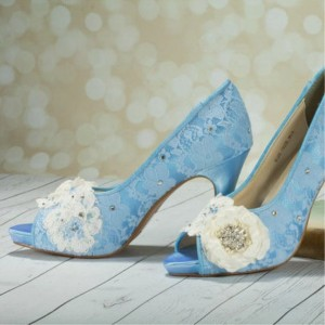 Blue Wedding Shoes Peep Toe Lace Heels With Flower ...