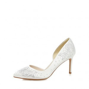 White Bridal Heels Satin Stiletto Heel D'orsay Pumps with Rhinestones