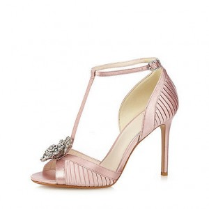 Women's Pink Satin T-Strap Sandals Stiletto Heel Wedding Shoes
