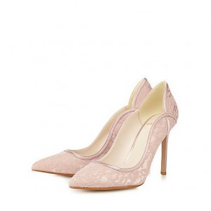 Women's Pink Lace Low-cut Pointed Toe Pumps Bridal shoes