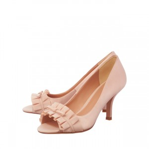 Pink Wedding Heels Peep Toe Ruffles Pumps for Bridesmaid