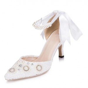 Women's White Low-cut Uppers Pearl Ankle Strap Pointed Toe Kitten Heels Wedding Shoes