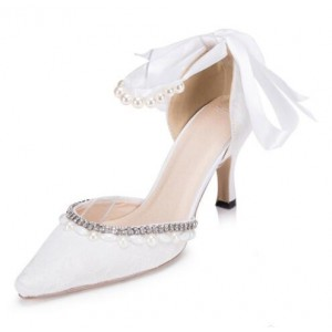 White Bridal Shoes Ankle Strap Rhinestone Lace Heels for Wedding