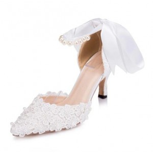 Women's White Bow Lace Pearl Ankle Strap Pumps Bridal Heels