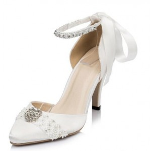 Women's White Bow Satin Rhinestone Ankle Strap Bridal Shoes