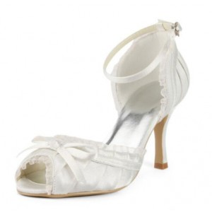 Women's White Peep Toe Lace Ankle Strap Pencil Heel Wedding Shoes
