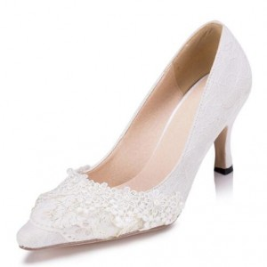 Women's White Lace Low-cut Uppers Mid-heel Pumps Bridal Heels