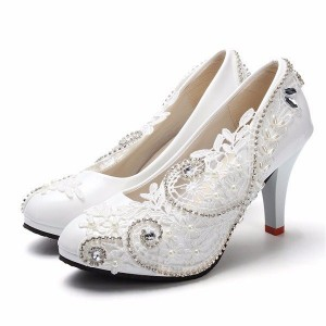 Women's White Floral Lace Rhinestone Bridal Heels Pumps