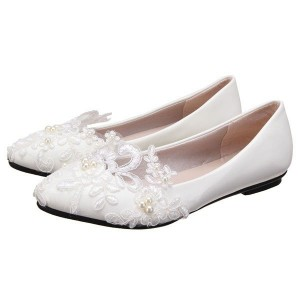 17fbf6a63d73 White Flat Wedding Shoes Pearls Ankle Strap Bridal Shoes for Wedding ...