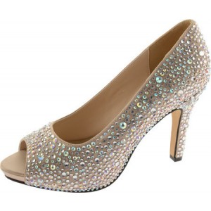 Women's Khaki Low-cut Uppers Rhinestone Stiletto Heel Bridal Shoes