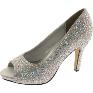 Women's Grey Low-cut Uppers Rhinestone Pencil Heel Bridal Shoes