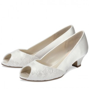 White Low Heel Wedding Shoes Lace and Satin Peep Toe Pumps