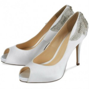 White Satin Jeweled Sandals Peep Toe Stiletto Pencil Heel Bridal Shoes