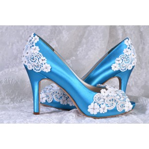 Women's Blue Lace Satin Peep Toe Rhinestone Bridal Heels Pumps