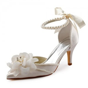 Women's Beige Satin Floral Back Bow Ankle Strap Bridal Shoes