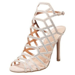 Evening Shoes Beige Open Toe Slingback Hollow out Stiletto Heel Sandals