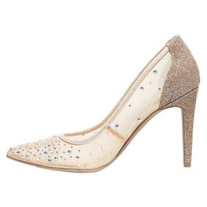 Women's Nude Lace Rhinestone Stiletto Heel Pumps Bridal Heels