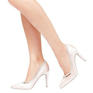 Pink Satin Wedding Heels Pointy Toe 3 Inch Heels Pumps for Bridesmaid