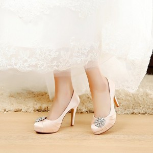 Champagne Bridal Heels Satin Rhinestone Platform Pumps for Wedding