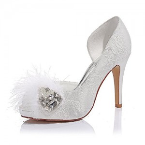 Women's White Lace Duck Down Rhinestone Stiletto Heel Pumps Bridal Shoes