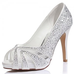 Silver Wedding Shoes Lace Hees Peep Toe Hotfix Pumps with Platform