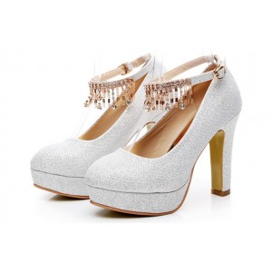 Women's White Rhinestone Tassels Ankle Strap Elegant Wedding Shoes