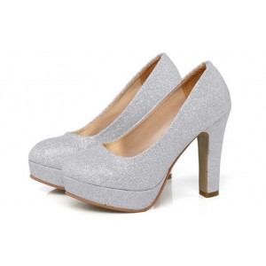 Silver Sparkly Heels Block Heel Pumps with Platform