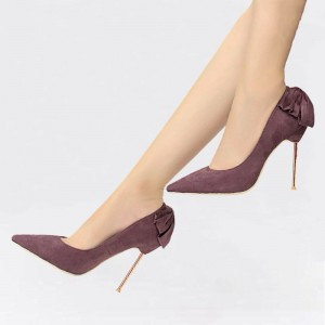Maroon Stiletto Heels Suede Pointy Toe Pumps With Bow