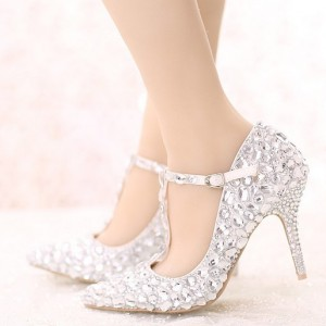 Women's White Crystal T-strap Pointed Toe Stiletto Heel Wedding Shoes