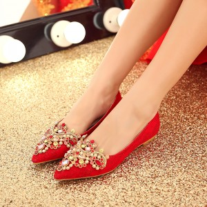 Red Flat Wedding Shoes Pointy Toe Rhinestone Embellished Lace Flats