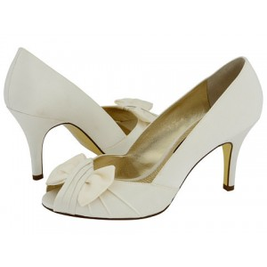 Women's White Satin Bow Bridesmaid Stiletto Heel Pumps Bridal Heels