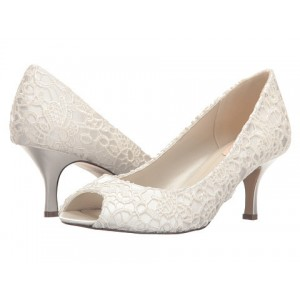 White Bridal Heels Peep Toe Lace Kitten Heels Pumps for Wedding