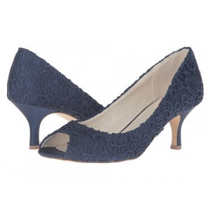 Women's Navy Low-cut Upper Floral Lace Peep Toe Kitten Heel Bridal Sandals