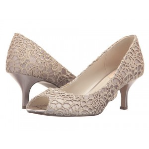 Beige Lace Wedding Heels Peep Toe Kitten Heel Pumps for Bridesmaid