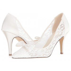 Lace Bridal Heels White Pointy Toe Chunky Heel Pumps with Bow