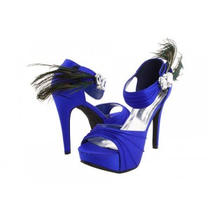 Royal Blue Wedding Heels Satin Open Toe Rhinestone Ankle Strap Sandals