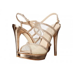 Women's Champagne Strappy Sling Back Stiletto Heel Bridal Shoes